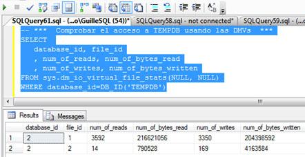 Si volvemos a consultar la DMV sys.dm_io_virtual_file_stats, podremos comprobar que en esta ocasión sí se han producido lecturas y escrituras sobre TEMPDB, consecuencia del desbordamiento sobre TEMPDB (spilling to TEMPDB) que comentábamos