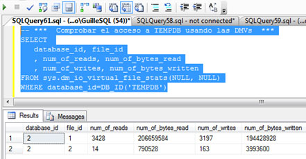 Vamos a consultar la DMV sys.dm_io_virtual_file_stats, para identificar las lecturas y escrituras realizadas sobre TEMPDB, y de este modo, poder tener otra medida que nos indique si se ha incurrido en un acceso a TEMPDB o no