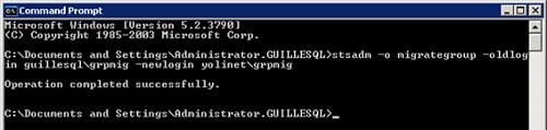 Hice varios intentos y nada. Busqué más info en el Event Viewer y en los Logs de SharePoint, y nada. Estuve Googleando un rato, y nada. Sin embargo, finalmente se me ocurrió la idea de si pudiera existir algún comando STSADM migrategroup, y resultó que sí, aunque no lo ví en TechNet, si había alguna cosilla colgada por los Interneses (ej: algún Blog de TechNet y de MSDN) y el comando STSADM respondía en mi servidor de laboratorio. Así que, finalmente lo probé y funcionó.
