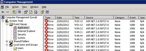 Pues empezamos bien. Al revisar en el Frontal Web que actuaba como servidor de búsqueda, en el Application Even Log, se mostraban multitud de errores (uno cada minuto) con Event ID 1088, relativos a ASP.NET