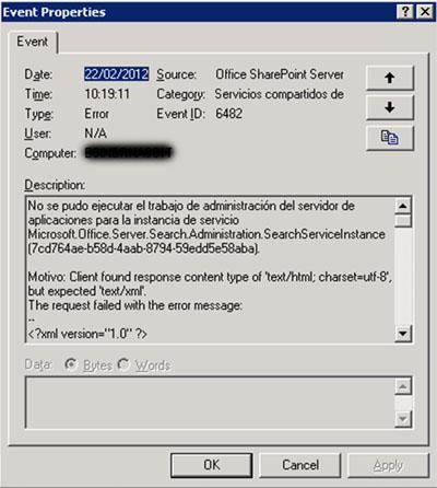 Al mostrar estos errores 6482 en detalle, se podía observar un mensaje de error similar al siguiente, en el que indica que no se ha podido realizar la propagación del índice de MOSS, y vuelve a hacer referencia al bonito mensaje de Server Application Unavailable
