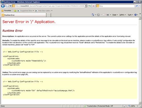 Sin embargo, con SharePoint 2010 esto siempre es suficiente, lo que implica que en algunas ocasiones podemos seguir encontrándonos sin la información del error en tiempo de ejecución, como es el caso de intentar eliminar un Tipo de Contenido (Content Type) en uso