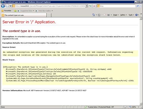 Ahora, si volvemos a reintentar la anterior operación, conseguiremos mostrar en el navegador la información del error en tiempo de ejecución.