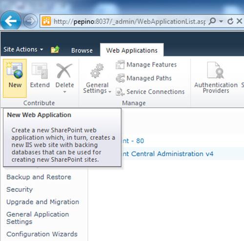 Y además el botón New Web Application había vuelta a la vida, lo cual también permitía poder crear nuevas Aplicaciones Web desde la Consola de Administración Central de SharePoint 2010