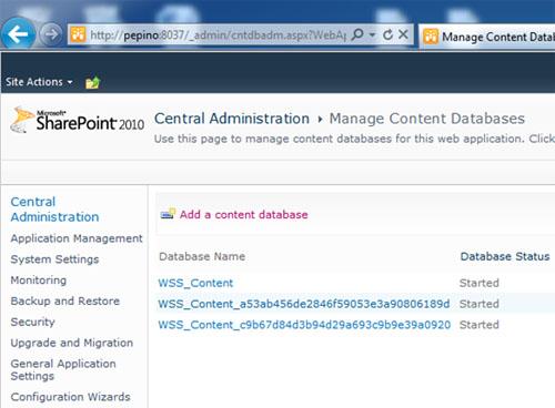 Efectivamente, ahora podía crear Base de Datos de Contenido como churros, utilizando la Consola de Administración Central de SharePoint 2010