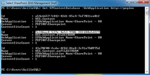 A continuación, se muestra la salida de ejecución del comando Get-SPContentDatabase