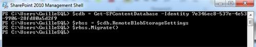 A continuación se muestra la salida de ejecución de los anteriores comandos de PowerShell, para migrar los datos desde el almacenamiento en SQL Server a RBS.
