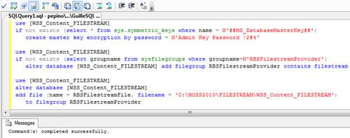A continuación se incluye una pantalla capturada con el resultado de la ejecución de dicho Script SQL, quedando habilitada la base de datos WSS_Content_FILESTREAM para poder utilizar el almacenamiento FILESTREAM