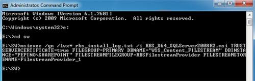 A continuación se muestra la salida de la ejecución. En nuestro caso de ejemplo, renombramos el fichero RBS.msi por RBS_X64_SQLServer2008R2.msi. Por lo demás no hay ninguna diferencia