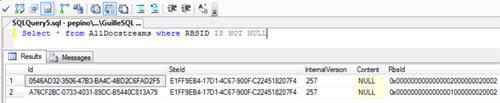 Si ahora consultamos de nuevo nuestra Base de Datos de Contenido, podremos comprobar que ya tenemos dos documentos almacenados en RBS: el documento de 40MB que acabamos de Migrar, y el documento de 35MB que subimos a nuestro Site después de habilitar RBS.