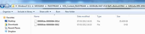 Realizado esto, hemos aprovechado para subir (upload) un document de 35MB al Sitio de SharePoint que utiliza la Base de Datos de Contenido en la que hemos habilitado RBS. Si consultamos el contenido del directorio NTFS utilizado para el almacenamiento FILESTREAM de dicha Base de Datos de Contenido, podemos observar que dicho documento de 35MB parece estar efectivamente almacenado el FILESTREAM, como se puede observar en la siguiente pantalla capturada