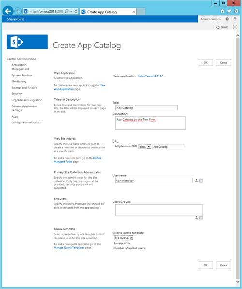 En la pantalla Create App Catalog, especificaremos los datos necesarios para su creación, en función de nuestras necesidades y requisitos. Una configuración típica en entornos de desarrollo, es especificar Everyone en la opción End Users