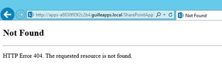 A nivel de IIS, el Site de SharePoint que da servicio a nuestra Aplicación Web en el puerto 80, no está utilizando Host Headers. Este detalle es importante, ya que si dicho Site está configurado sólo para ser accedido utilizando Host Headers, cuando intentemos ejecutar una App de SharePoint 2013 nos encontraremos con un mensaje de error como el siguiente: Not Found. HTTP Error 404. The requested resource is not found