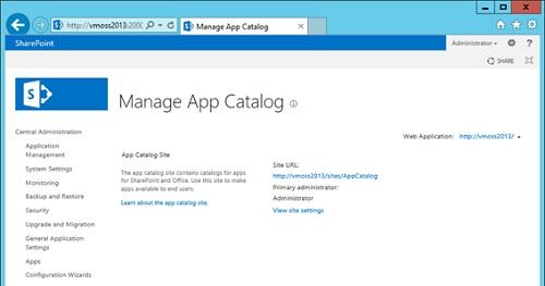 Tras unos instantes, el App Catalog habrá sido creado con éxito.