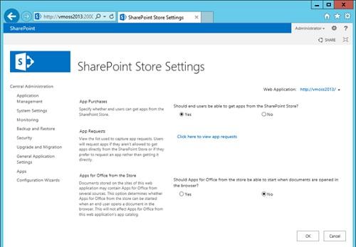 Si lo deseamos, seguidamente en el menú Apps de la Central Administration, seleccionaremos la opción Configure Store Settings. En la pantalla SharePoint Store Setting, tenemos disponibles algunas opciones de configuración.