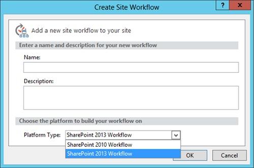 Además, si intentamos crear un Nuevo WorkFlow desde SharePoint Designer 2013, ahora podremos elegir entre utilizar el motor de WorkFlows de SharePoint 2010 o el motor de WorkFlows de SharePoint 2013.