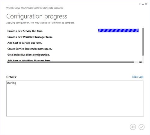 Al continuar (click en el check que aparece en la parte inferior derecha), se mostrará la pantalla Configuration Progress del Workflow Manager Configuration Wizard.