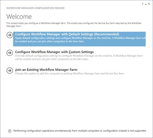 Pero no hemos acabado. Llegados a este punto, se mostrará el Workflow Manager Configuration Wizard. En esta pantalla debemos elegir una entre tres opciones. En este caso de ejemplo elegiremos la primera opción (Configure Workflow Manager with default settings).