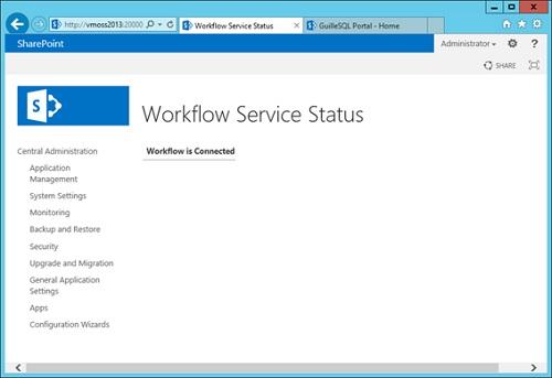 Y ahora sí que hemos acabado. Para comprobarlo, si volver a comprobar el estado del Workflow Service desde la Central Administration, observaremos que ya aparece OK: Workflow is Connected.