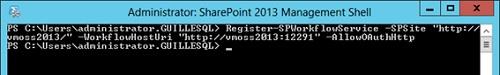 Tan sólo nos queda registrar el servicio desde PowerShell, para lo cual, en mi caso de ejemplo tuve que ejecutar el siguiente comando desde la SharePoint 2013 Management Shell: Register-SPWorkflowService –SPSite http://vmoss2013/ –WorkflowHostUri http://vmoss2013:12291 –AllowOAuthHttp