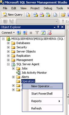 Ahora que ya hemos configurado el Agente de SQL Server para el envío de correo electrónico con Database Mail, estamos en situación de poder crear Operadores. Para ello, utilizaremos la opción New Operator del menú contextual del elemento SQL Server Agent – Operators.