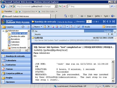 Efectivamente, una vez ha finalizado la ejecución del Job, el correo electrónico ha sido enviado satisfactoriamente.