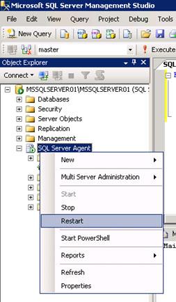 Muy importante: Una vez configurado el Agente de SQL Server para utilizar un perfil de Database Mail para el envío de correo electrónico, deberemos reiniciar el Agente de SQL Server para que los cambios tomen efecto. Esto podemos hacerlo directamente desde el SQL Server Management Studio (SSMS), utilizando la opción Restart del menú contextual del SQL Server Agent.