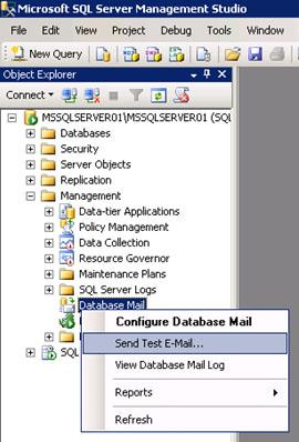 Quizás lo primero que debamos hacer tras finalizar la configuración de Database Mail, es enviar un correo electrónico de prueba. Para ello, quizás lo más fácil, es utilizar la opción Send Test E-Mail del menú contextual de Database Mail, dentro del SQL Server Management Studio (SSMS), como se muestra en la siguiente pantalla capturada