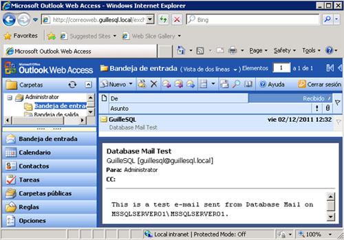 Comprobaremos que efectivamente, el correo electrónico de prueba ha sido enviado con éxito, y haremos click en el botón OK.