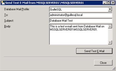En la pantalla Send Test E-Mail, especificaremos los datos del correo electrónico de prueba que deseamos enviar, y click en Send Test E-mail.