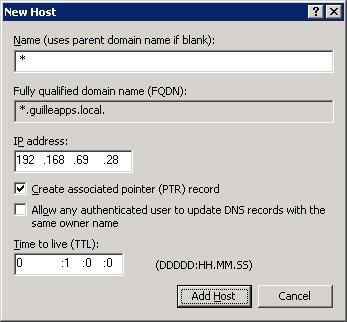 Como Nombre (Name) especificaremos el valor *, y seguidamente especificaremos la dirección IP a la que deseamos que apunte dicho registro DNS.