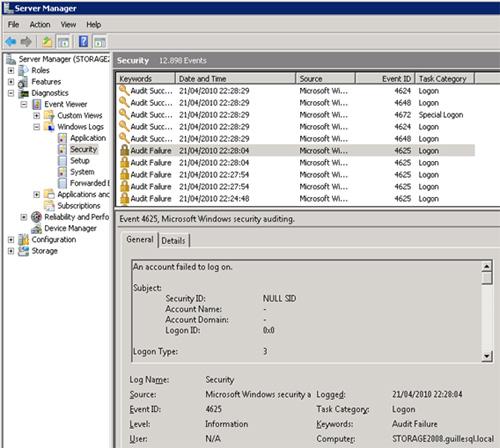 Logon Audit Failure referenciando un Security ID NULL SID, que se producían justo en los intentos de conexión con la VMM Administrator Console