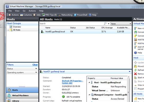 La conexión con VMM Administrator Console desde el Windows Vista se producía correctamente