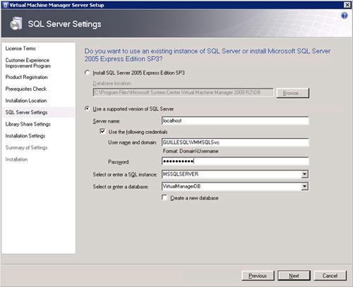 Pantalla SQL Server Settings de la instalación de VMM Server. Especificaremos los mismos datos (misma cuenta de usuario, etc.), excepto que dejaremos en blanco la opción Create a new database.
