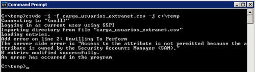 CSVDE tiene varias limitaciones. Por ejemplo, existen varios atributos que no podremos importar utilizando la utilidad CSVDE, como sería el caso de la pertenencia a grupos (el atributo memberOf). Si intentamos importar alguno de estos atributos prohibidos, podríamos obtener un mensaje de error como el siguiente: Access to the attribute is not permitted because the attribute is owned by the Security Accounts Manager (SAM). Esto puede ser una limitación importante, y además es algo confuso, ya que muchos de estos atributos sí que se pueden exportar con CSVDE pero luego no pueden ser importados con esta misma herramienta.