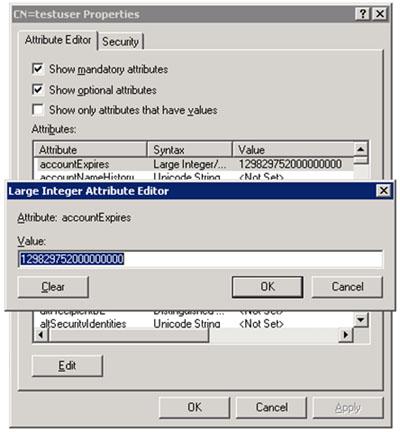 Por otro lado, para conocer que valor asignar a algunos atributos puede resultar de utilidad la herramienta administrativa ADSI Edit. Un ejemplo es el atributo accountExpires, que sirve para especificar en qué fecha expira un Usuario. Este atributo almacena un valor numérico, por lo tanto, si queremos realizar una importación masiva de usuarios con CSVDE configurando una fecha de expiración (accountExpires), podemos configurar el valor de fecha de expiración que deseemos en un usuario de prueba con la herramienta administrativa Active Directory Users and Computer (ADUC), y seguidamente obtener el valor deseado con la herramienta administrativa ADSI Edit. Este valor es el que deberemos especificar en el fichero CSV que vamos a importar