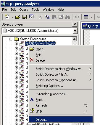 Cómo depurar un procedimiento almacenado en SQL Server 2000 con Query Analyzer.