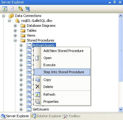 Cómo iniciar la depuración de un Procedimiento Almacenado en SQL Server 2005 con Visual Studio 2005.