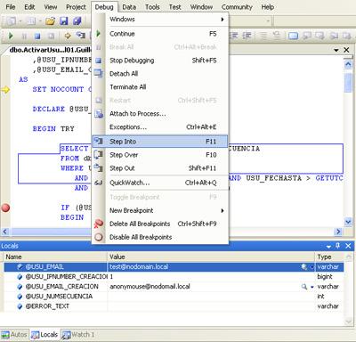 Cómo depurar un procedimiento almacenado en SQL Server 2005 con Visual Studio 2005. Examinar y modificar variables en tiempo de depuración. Depurar Transact-SQL en SQL Server 2005 con Visual Studio 2005 for Database Professional (DBPro).